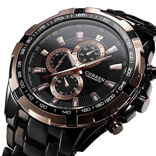 CURREN Quartz Tungsten Steel Precision Vogue Business Black Gold Men's Big Watch 3ATM Waterproof
