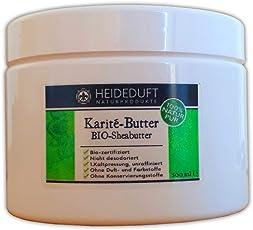 Heideduft BIO Karité Butter, 500 ml, 100% reine BIO Sheabutter, kaltgepresst, organisch, zertifiziert, unraffiniert, nicht desodoriert