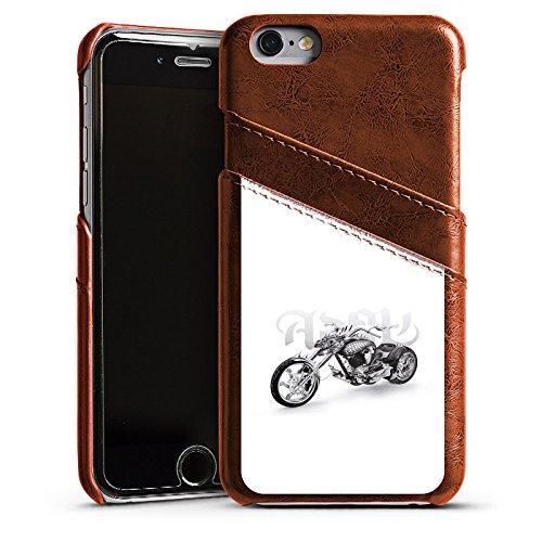 Apple iPhone 5s Housse étui coque protection Moto Étui en cuir marron