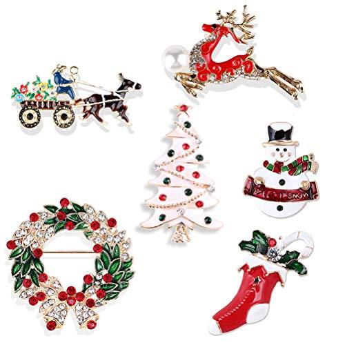 Healifty Weihnachten Schneemann Brosche Pins 6pcs neu gestaltete Weihnachten Brosche Pins Serie Crystal Strass Broschen