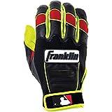 Franklin Sports Adult MLB CFX Pro Revolt Series Batting Gloves, Optic Yellow/Red, Medium