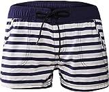Damen Shorts Pants Hose Kurz Boarshorts Strandhose Strandshorts Retro Panty Vintage Streifen mit Tunnelzug Sporthose 38/40 (Etikett M)