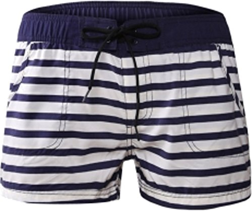 Damen Shorts Pants Hose Kurz Boarshorts Strandhose Strandshorts Retro Panty Vintage Streifen mit Tunnelzug Sporthose 42/44 (Etikett XL) (Panty Streifen Kurz)