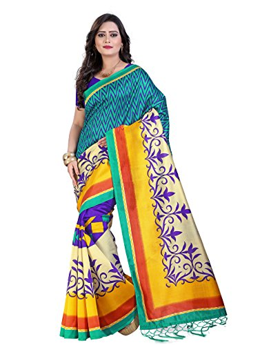 Sarees e-VASTRAM Art Mysore Silk Sarees With Tassel/Kutch(NST20G_Green)