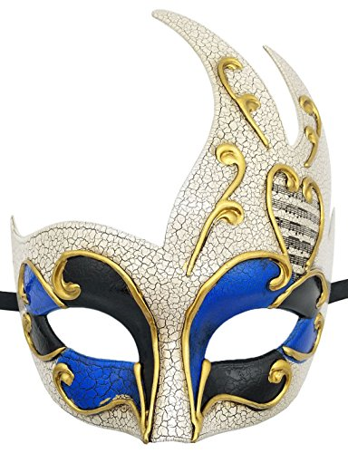 Herren Maskerade Maske Vintage Rissig Venetian Party Maske Halloween Mardi Gras Maske (Blau) (Männer Mardi Gras Masken)