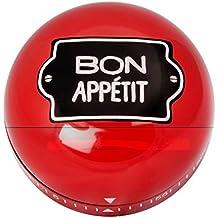 Bon Apetit en rojo o negro reloj de cocina temporizador de cocina té temporizador cocina temporizador cocina Reloj despertador analógico 60min., metal, rojo, (Ø × H): 7,5 cm × 4 cm