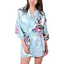 Donne Lusso Pavone e Fiori Raso Kimono Vestaglia Pigiama Corta