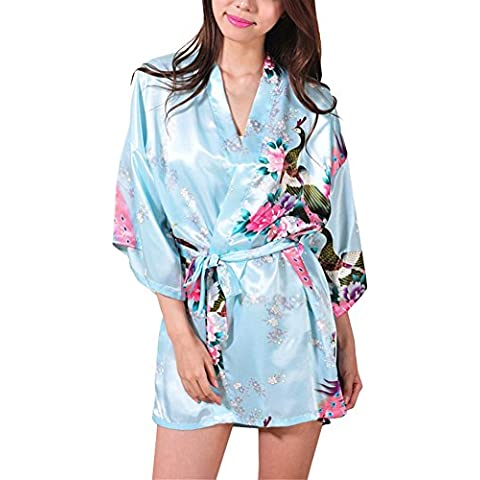 Waymoda Women Luxury Silky Satin Evening Dressing Gown, Ladies Peacock and Blossoms Pattern Kimono Pajamas, 10+ Color, 4 Sizes Optional - Short