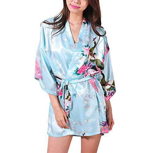 Preisvergleich Produktbild Waymoda Women Luxury Silky Satin Evening Dressing Gown, Ladies Peacock and Blossoms Pattern Kimono Pajamas, 10+ Color, 4 Sizes Optional - Short style