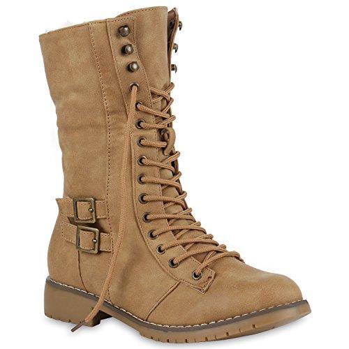Damen Schnürstiefel Schnallen Profilsohle Stiefel Schuhe 123771 Hellbraun 36 Flandell