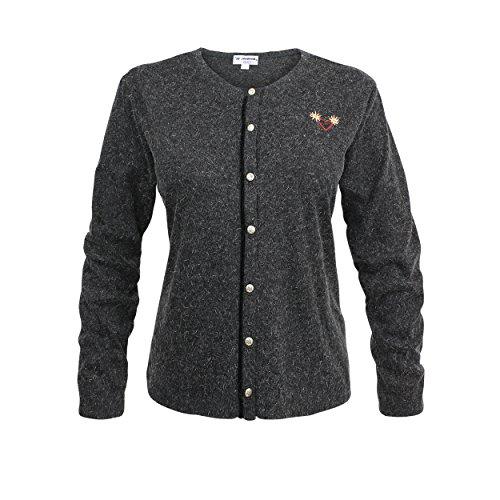 Trachtenjacke Strickjacke Sweater Hoodie Jacke Damen Schwarz Grau Anthrazit (40)