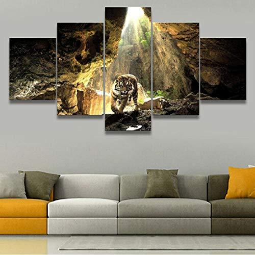 Wuwenw Die Bilder/Das Wandbild/Der Kunstdruck Gemälde Wohnzimmer Hd Prints Animal Poster 5 Stück Tiger Cave Pictures Home Decorative-40X60/80/100Cm,With Frame -