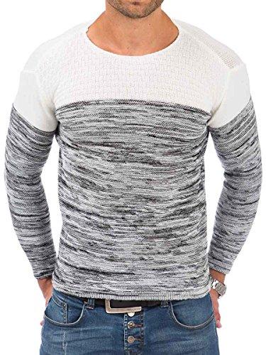 Pullover Herren Strickpullover Winter Pulli Tazzio Slim Fit Langarm Strick Ecru - 16-499