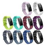 KingAcc Kompatibel Fitbit Inspire,Inspire HR Armband, Weiche Silikon Ersatz Armbänder Armband für Fitbit Inspire, Metall Schnalle Fitness Armband Uhrenarmband Frau Männer (10-Pack, 10 Colors,Klein)