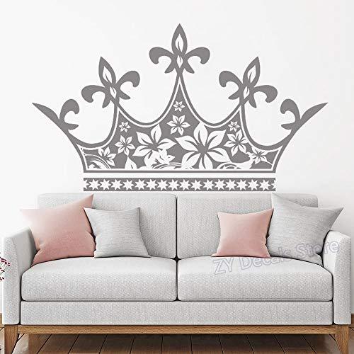 Große Krone Kopfteil Wandtattoo Mädchen Baby Prinzessin Decor Vinyl Aufkleber Kinderzimmer Wand Poster Süße Vinyl Aufkleber Schlafzimmer 74X42CM -