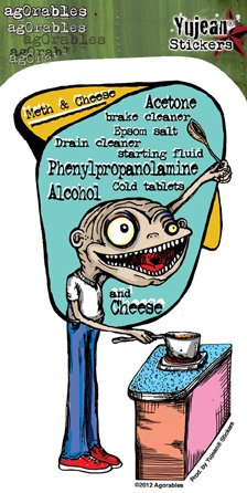 "Agorables - Deranged Cook Meth & Cheese decalcomania Sticker Decal - 5.25"" x 3"" Die-Cut - Weather Resistant, Long Lasting for Any Surface"