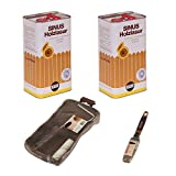 2 Eimer 5L SINUS Holzlasur Teak +Pinsel&Walze Holzschutz Lasur Holz Innen&Außen