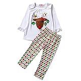 Hikfly 2pcs Cartoon Deer manches longues vêtements de Noël Set pour bébé filles enfant en bas âge cadeau de fête de noël Show fête d'anniversaire et vie décontractée (top + pantalon) (Blanc, 100/M)