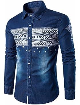 Camisa de manga larga casual elegante gran sello étnico cowboy camisa de manga larga