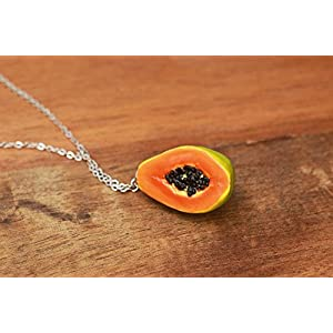 Summery Papaya Necklace - Fruit Jewelry - Fruit necklace - Miniature Food Jewelry, Food Jewelry, Obst Schmuck,...