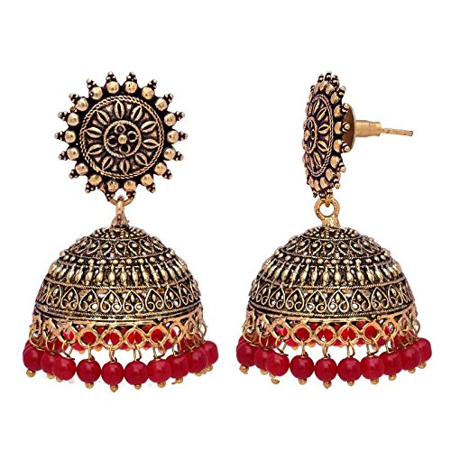 V L Impex Sun Shape Lightweight Maroon Gold Plating Oxidised Jhumki Jhumka Earring For Women