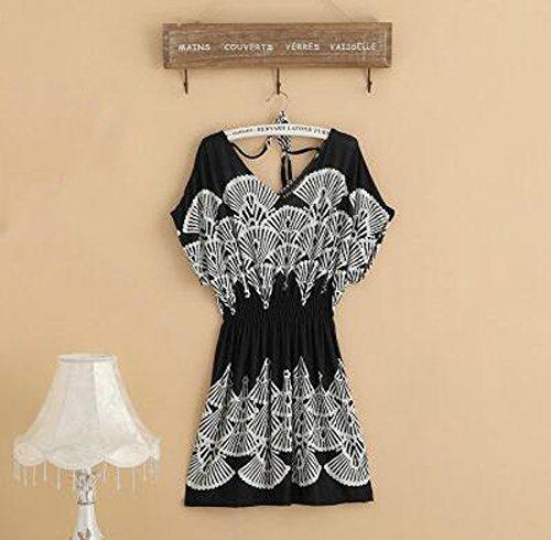 Elwow Damen Nachthemd Einheitsgröße Schwarz