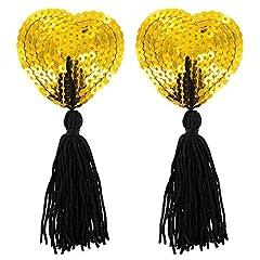 Idea Regalo - Paris Hollywood Nipple Copricapezzoli Cuore Glitter Sequin dorato/Pompon Adesivo riutilizzabile