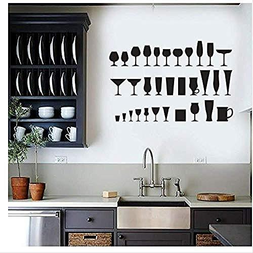 Art Wandaufkleber Wandaufkleber Trinkbecher Wandaufkleber Küche Haushalt Innendekoration Weinglas Aufkleber Bar Wandbild 64cmX42cm -