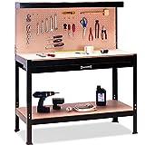 Deuba Werkbank XXL 150x120x60cm | Lochwand | Profi Ausführung - Werkstatttisch Packtisch Werktisch Werkzeugwand