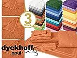 Frottiertücher der Serie Opal - erhältlich in 33 modernen Farben und 7 verschiedenen Größen -Markenqualität von Dyckhoff, 1 Pack (3 Stück) - Handtücher [50 x 100 cm], terracotta