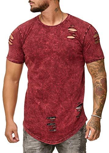 OneRedox Herren Shirt Hoodie Longsleeve Kurzarm Shirt Sweatshirt T-Shirt 9083 Bordo M