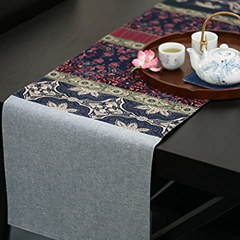 Trapuntatura in cotone/ tovagliette/ runner lino/ copertura il tavolino di scarpe-A 33x190cm(13x75inch)