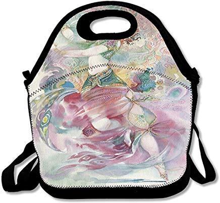 Orientalische Tanz-Thema, für junge Mädchen, traditionelles Kostüm Fantasy-Figur, Neopren, isoliert, mit Schultergurt, Lunch-Taschen für Damen, Herren, Kinder, - Schule Themen Tanz Kostüm