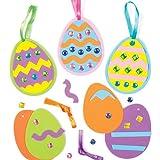 Kit Uova di Pasqua Decorative con Gemme/Pietre Preziose per Bambini da Confezionare, Decorare e Appendere - Set Attività Creativa con Adesivi per Bambini (Confezione da 6)