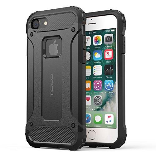 MoKo Hülle für iPhone 7 - Premium Dual Layer Ultra dünn Rüstung Case Anti-Kratz Stoßfest TPU+PC Schutzhülle Handy Tasche Bumper für Apple iPhone 7 4.7 Zoll Smartphone, Schwarz Schwarz