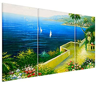 UNIQUEBELLA The beach house painting printed on Canvas, Large Wall Art Pictures Print on Canvas for Home kids room decoration for Home Decoration (No Frame), 3 pcs/set 35*75cm*2, 50*75cm*1 - low-cost UK canvas store.