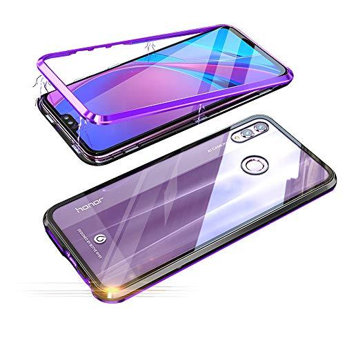 Jonwelsy Huawei Honor 8X Hülle, Stark Magnetische Adsorption Technologie Metallrahmen, Transparent Gehärtetes Glas Rückseite Handyhülle für Huawei Honor 8X (6,5 Zoll) (Lila/Schwarz)