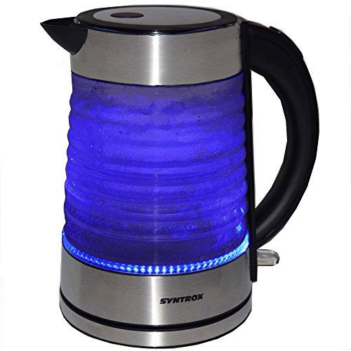 Syntrox Germany WK-2000W-1.7G Agua 2000 Watt 1,7 Liter Edelstahl schnurlos Glas Wasserkocher mit blauem LED Licht 360° cordess Wasserkessel Teekessel - 8