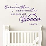 KLEBEHELD® Wandtattoo Ein bisschen Mama ein bisschen Papa und ganz viel Wunder mit Wunschname | Farbe grau, Größe 80x48cm