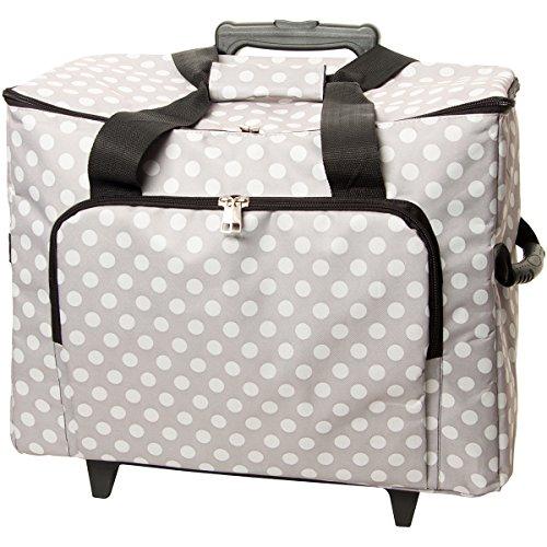 Sewing Machine Trolley-Gray W/White Polka Dots 17 X13 X19 (Overlock-trolley)