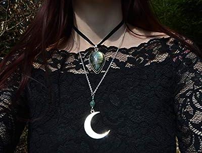 Pendentif Lune avec pierres semi-précieux/collier croissant de lune argent/agate, opalite, fluorite, lapis lazuli, aigue-marine, jaspe/bijoux sorcière pagan wicca/gothique / bohême/boho