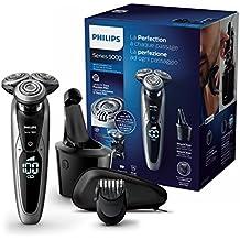 Philips Serie 9000 S9711/32 - Afeitadora eléctrica con barbero, display digital, sistema SmartClean, funda de viaje, color negro y gris