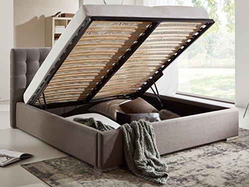 Bett mit Bettkasten Grau Polsterbett Lattenrost Doppelbett Jimmy 140 160 180×200