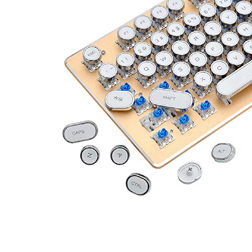 Rick Keycaps Set, Transparent Retro Punk Ersatz Keycap, 104 Tasten US Layout Tastenkappen für Mechanische Tastatur - Schwarz