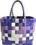 normani Einkaufstasche geflochten mit Henkeln - Tragetasche extra robust Farbe Classic/Lavendel