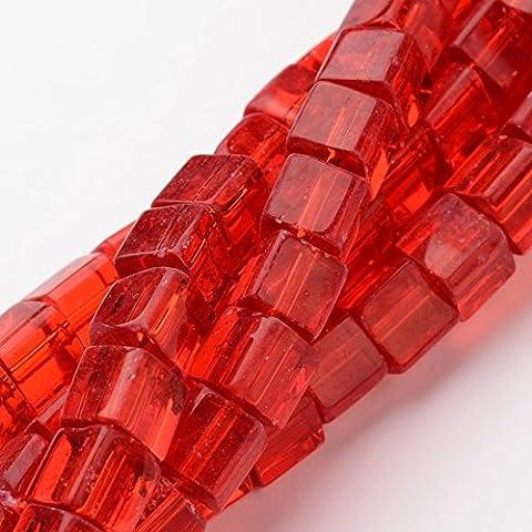 Würfel Glasperlen 6mm 50stk Rot für Schmuck Basteln V76 (1 Oval-türkis-armband)