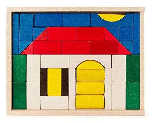 Baukasten Haus bunt mit 41 Teilen, Spielzeug aus Holz, Geschenk für Kinder, von DREGENO SEIFFEN – Original erzgebirgische Handarbeit
