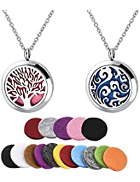"""Long Way Essential Oil Diffuser Necklace Locket Jewelry with 316L Surgical Steel 23.4""""Chain and 18 Refill Pads"""