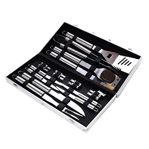 LARS360 18-teilig Edelstahl Grillbesteck-Set Barbeque Grillzubehör Besteck im Aluminium-Koffer Grill-Werkzeug BBQ Zubehör Kit (18-teilig) - Bbq-zubehör-kit