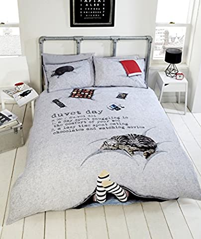 Duvet Day Teenagers Fun New Novelty Quilt Duvet Cover and Pillowcase Bedding Set, Polyester-Cotton, Multi-Colour, Single by Duvet Day